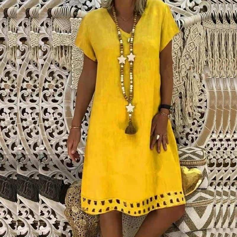 жълта лятна рокля