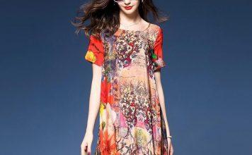 Пъстра ежедневна рокля