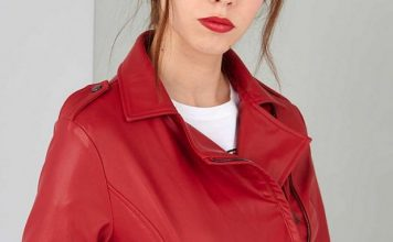 червено кожено яке